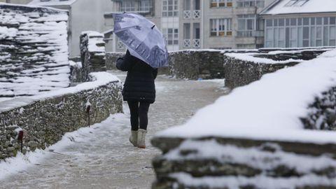 La ola de frío tiñó de blanco la ciudad de Lugo