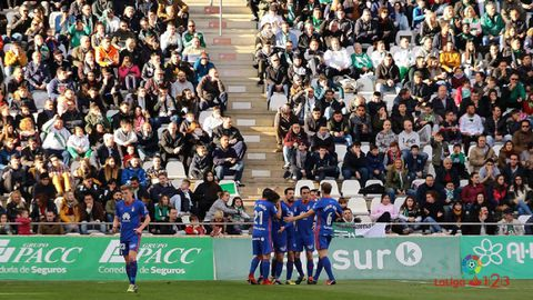 gol Fabbrini Cordoba Real Oviedo.Los futbolistas del Real Oviedo celebran el gol de Fabbrini