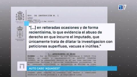 Auto de la jueza Pilar de Lara en la que acusa a Caundeo de dilatar la investigación