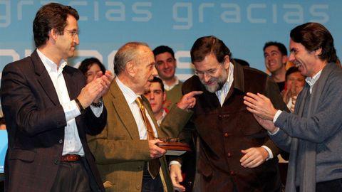Acto de homenaje a Manuel Fraga en Silleda, que reunió a Núñez Feijoo, presidente del PPdeG, a Rajoy, presidente del PP, y a José María Aznar