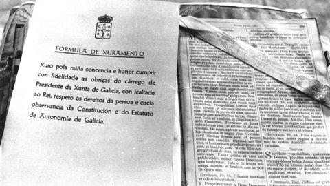 Vista de la fórmula de juramento del cargo que tuvo que leer Gerardo Fernandez Albor como presidente de la Xunta