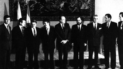 Miembros del nuevo Gobierno de la Xunta de Galicia presidido por Fernández Albor