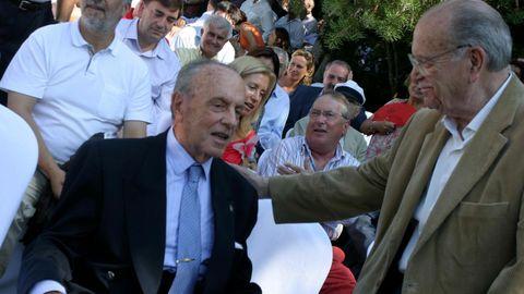 Cumbre del PP en Ribadumia en el pazo Quinteiro da Cruz donde Manuel Fraga confirma el relevo como candidato de la Xunta en presencia de Mariano Rajoy, Fraga y Fernández Albor.