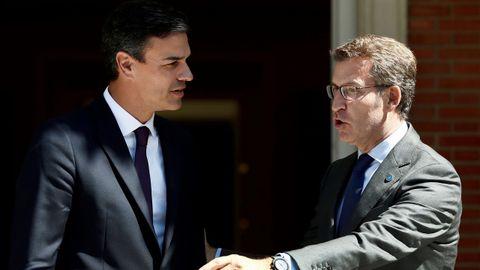 Pedro Sánchez y Alberto Núñez Feijoo, en el encuentro de julio del 2018