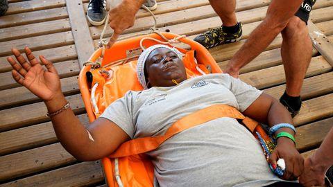 Imagen de la superviviente a su llegada hoy a Palma de Mallorca