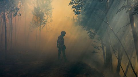 Varios bomberos luchan contra las llamas en el frente de Belem, cerca de Monchique