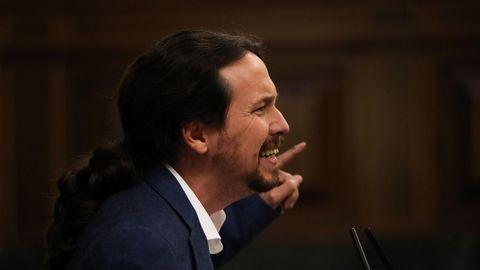 El lider de Podemos, Pablo Iglesias, en una foto de la moción de censura contra Rajoy