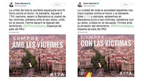Los dos tuits originales de Sánchez