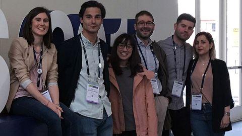De izquierda a derecha, los investigadores Laura Amado Rodríguez, Jorge Blázquez Prieto, Covadonga Huidobro, Guillermo Muñiz Albaiceta, Adrián González López e Inés López Alonso