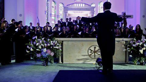 Miembros del Coro de la Fundación Princesa de Asturias ensayan hoy, miércoles 12 de septiembre de 2018, momentos previos a la inauguración del Séptimo Festival Internacional de Música Sacra que se realiza en Bogotá (Colombia)