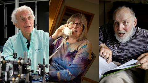 De izquierda a derecha, los galardonados con el Nobel de Física Gérard Mourou, Donna Strickland y Arthur Ashkin