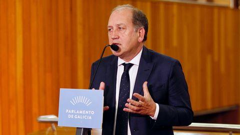 Xaquín Fernández Leiceaga, portavoz del PSdeG, durante su valoración del discurso de Feijoo.