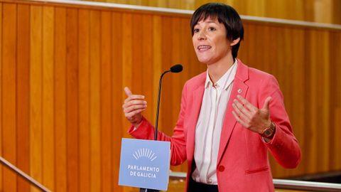 Ana Pontón, portavoz del BNG, durante su valoración del discurso de Feijoo.