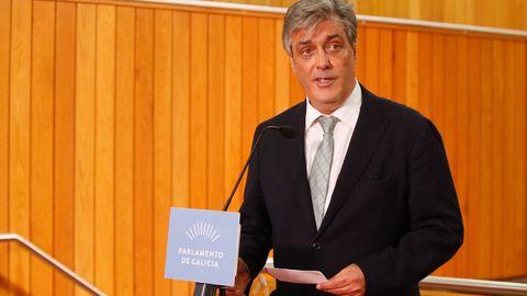 Pedro Puy, portavoz del PP, durante su valoración del discurso de Feijoo.