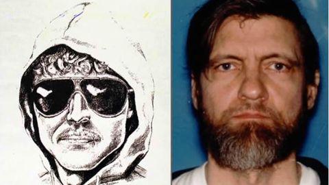 Retrato robot de Kaczynski, junto a una foto del terrorista tras su detención