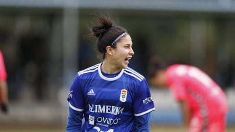 Gol Gloria Villamayor Real Oviedo Femenino Lugo Requexon.Gloria Villamayor celebra uno de sus goles ante el Lugo
