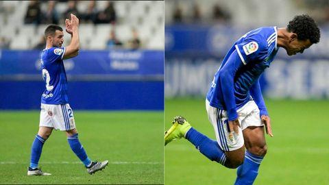 Joselu y Yoel Bárcenas durante el partido ante el Reus en la 18/19