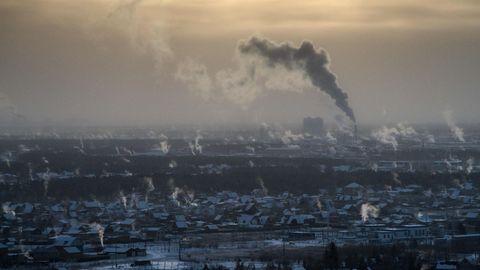 Vista de la ciudad de Yakutsk, en Siberia oriental, con la temperatura del aire en aproximadamente 35 grados centígrados