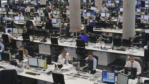 Parte de los equipos de procesamiento de datos en la sede central del BBVA, en Madrid