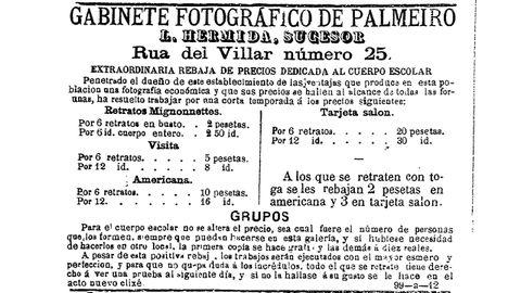 Inserción publicitaria do estudio de Luis Hermida atopada na «Gaceta de Galicia» do 2 de agosto de 1886