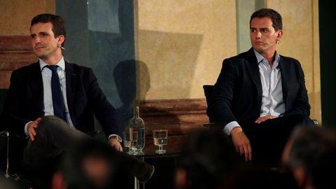 Imagen de archivo de Casado y Rivera, en un acto en Cádiz sobre la Constitución