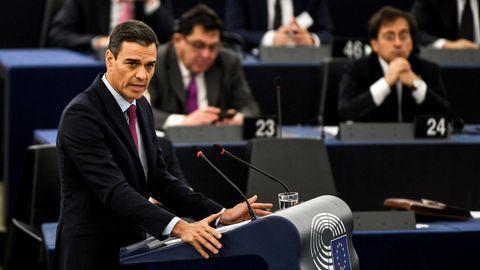 Pedro Sánchez, hoy en su discurso ante el pleno del Parlamento Europeo