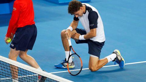 El tenista español Pablo Carreño Busta durante el partido de octavos de final del Abierto de Australia disputado este lunes ante el japonés Kei Nishikori, en Melbourne, Australia.
