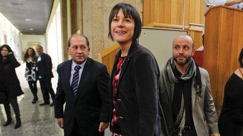 La oposición (en la foto, Leiceaga, Pontón y Villares) pidió que comparezca el conselleiro de Sanidade en pleno y el PP lo rechazó