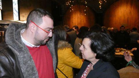 El secretario general de la FSA y candidato a la presidencia del Principado, Adrián Barbón, en la espicha en Sariego de presentación de la Candidatura Cultura Sidrera Asturiana a la Lista de Patrimonio Inmaterial de la UNESCO