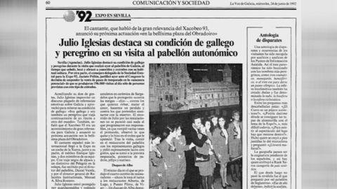 Página de la La Voz de Galicia del 24 de junio de 1992 que refleja la visita de Julio Iglesias al pabellón gallego de la Expo 92