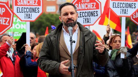 El líder de Vox, Santiago Abascal, durante su intervención