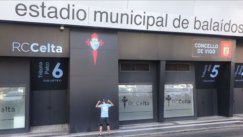 Andrés, en Balaídos, aunque no pudo visitar el estadio por dentro