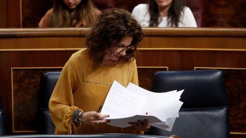 La ministra de Hacienda, María Jesús Montero, se mostró sorprendida por la intervención crítica de la gallega Yolanda Díaz