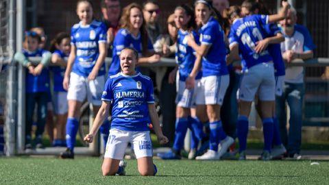 Gol Laura Real Oviedo Femenino Atletico Matama Diaz Vega.Laura celebra el gol de la victoria frente al Atlántida Matamá