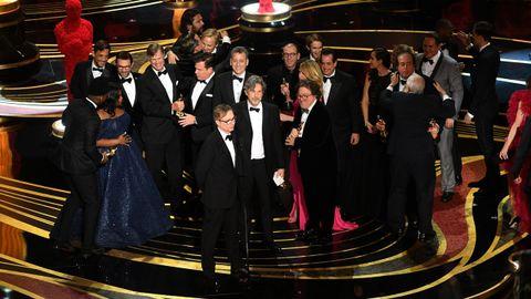 Los miembros de la película Green Book, recogiendo el Óscar