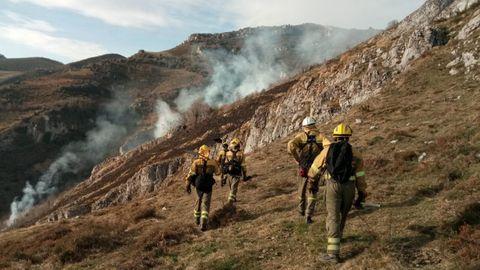 Labores de extinción en incendio forestal de Tineo