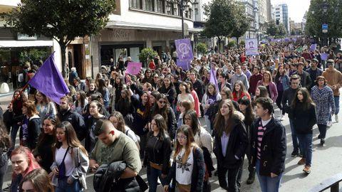 Concentración del 8-M por las calles de Oviedo