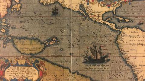Detalle del mapa «Maris Pacifici» (1589) de Abraham Ortelius, que se conserva en el Museo Naval de Madrid