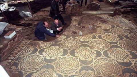 Restos del mosaico de una domus localizada en Santo Domingo