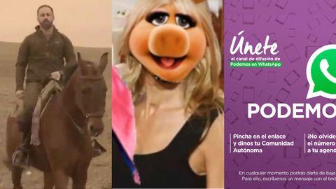 Abascal en el vídeo de la Reconquista de Vox, la cerdita Peggy en el del voto útil contra Vox y el anuncio del canal de Podemos en WhatsApp