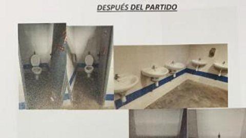 Lavabos del Carlos Tartiere tras el derbi asturiano de noviembre