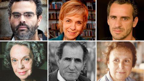 De izquierda a derecha y de arriba abajo, Gonçalo M. Tavares, Dulce Maria Cardoso, José Luís Peixoto, Sophia de Mello Breyner, Miguel Torga y Agustina Bessa-Luis