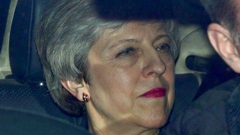 La primera ministra británica, Theresa May, a su llegada hoy al Parlamento