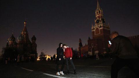 Detalle de la moscovita plaza Roja, en pleno apagón