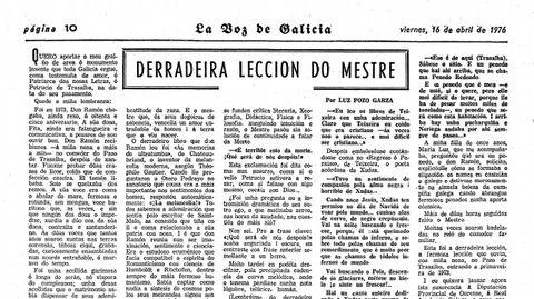 A escritora dedicoulle un artigo a Otero Pedrayo nas páxinas de La Voz en 1976