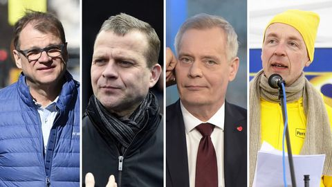 De izquierda a derecha, Juha Sipila (Partido de Centro); Petteri Orpo (Kokoomus); Antti Rinne (Partido Socialdemócrata); y Jussi Halla-Aho (Verdaderos Finlandeses)