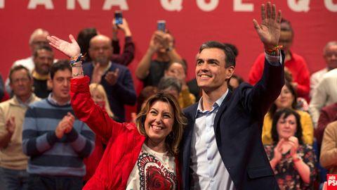 Pedro Sánchez, con Susana Díaz, en un mitin en Alcalá la Real (Jaén) en abril del 2019