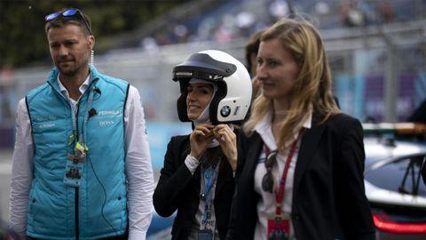 Virginia Raggi el pasado día 13 en un campeonato de coches eléctricos en Roma