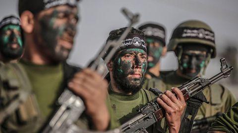 Combatientes de Hamas en un ejercicio militar en la Ciudad de Gaza