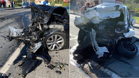 Los dos coches que colisionaron en A Pobra